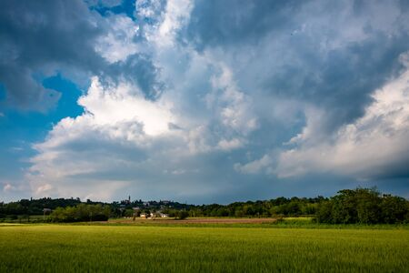 Fields of Friuli Venezia-Giulia in a stormy spring day