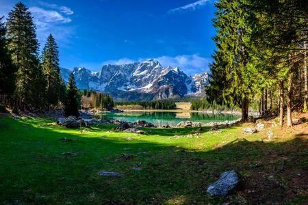 Spring morning at the superior lake of Fusine, Friuli Venezia-Giulia, Italy Banco de Imagens