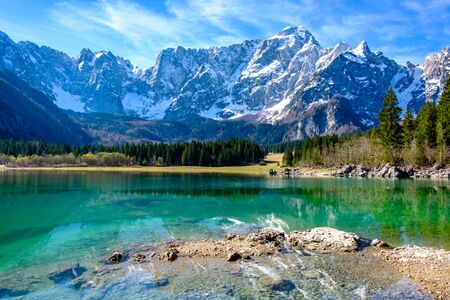 Spring morning at the superior lake of Fusine, Friuli Venezia-Giulia, Italy