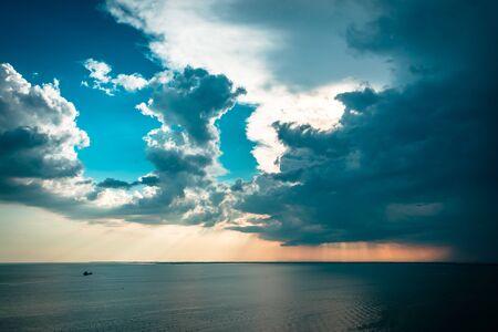 Storm over the sea in the gulf of Trieste, Friuli Venezia-Giulia, Italy Stockfoto - 131488858