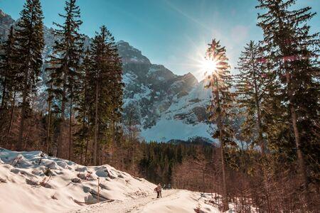Sunset in front of the mount Mangart in the Italian Alps 版權商用圖片