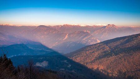 Trekking winter day in the mountains of Friuli-Venezia Giulia, Italy Archivio Fotografico