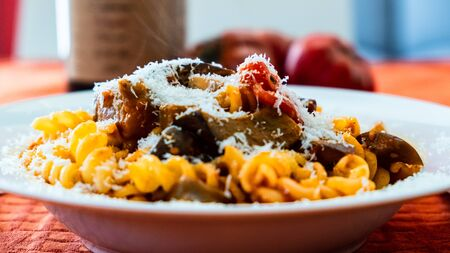 Pasta alla norma, with tomatoes and eggplants, a recipie from sicily 版權商用圖片