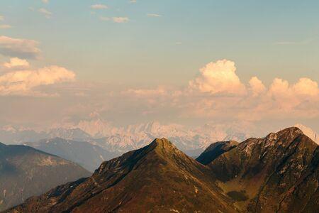 Summer sunset between the alps of Friuli Venezia-Giulia 版權商用圖片