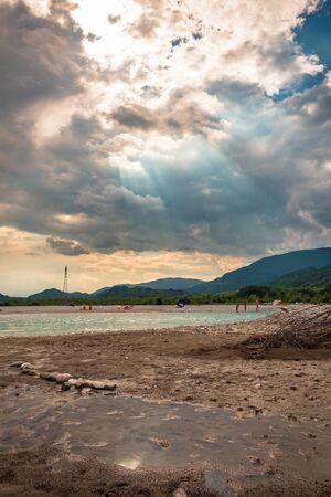 Storm over Tagliamento river in Friuli Venezia-Giulia region, Italy