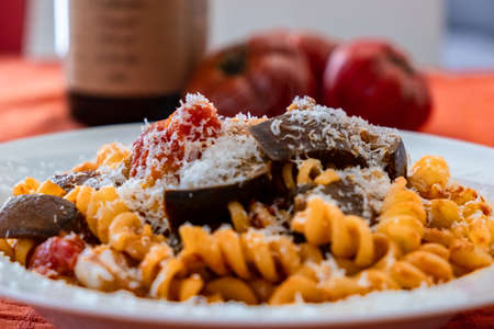 Pasta alla norma, with tomatoes and eggplants, a recipie from Sicily