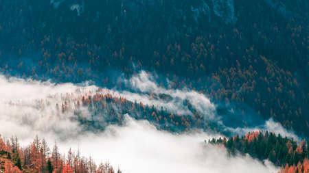 Clouds in the valley under the peak of Julian Alps Archivio Fotografico