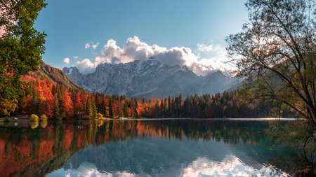 october afternoon at the lake during a colorful autumn