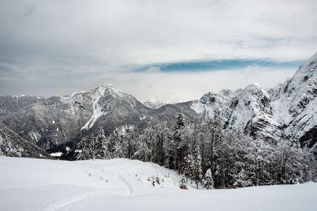 Julian alps after a big snowfall. Udine province, Friuli-Venezia Giulia region, Italy Imagens
