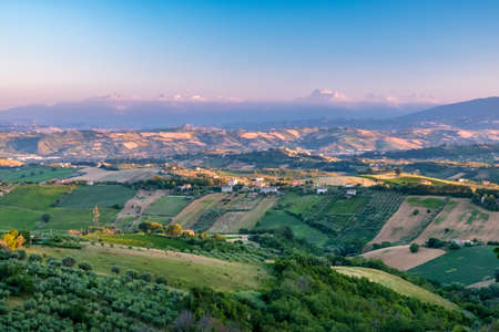 Sunset in the fields of Marche from the village of Acquaviva Picena