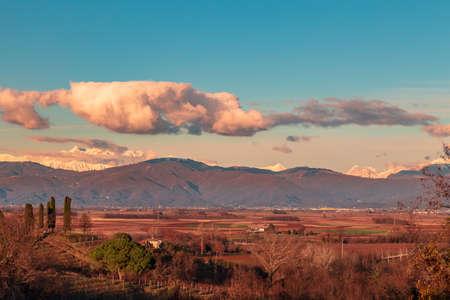 The sun goes down in the vineyards of Friuli Venezia-Giulia Imagens