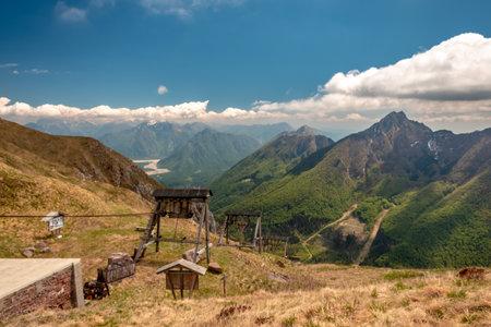 Reaching the top of a mountain in the Carnic Alps, Friuli-Venezia Giulia, Italy Imagens