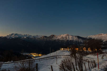 Starry night in the julian alps during winter