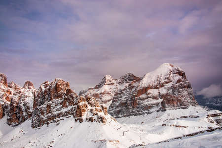 The beautiful italian dolomites in a winter day