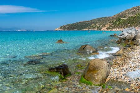 Summer day at Mari Pintau, a beautiful bay in the south of Sardinia Imagens
