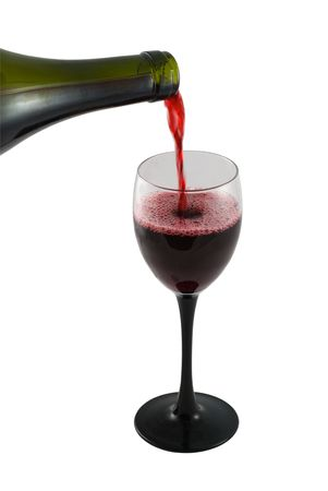 Pouring Red Wine against white background
