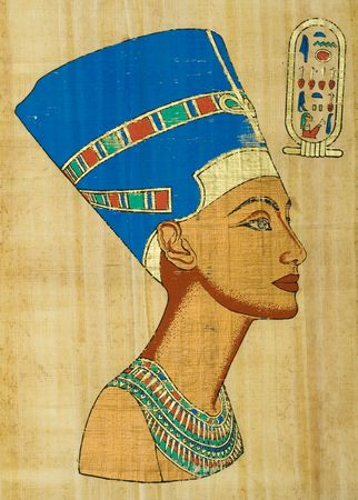scribes: Egyptian papyrus with portrait Nefertiti Stock Photo