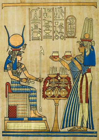 scribes: Papiro egiziano con cerimoniale ornamento  Archivio Fotografico