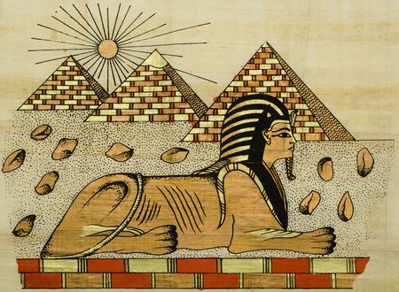 scribes: egyptian papyrus with scene of the sphinx