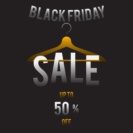 On the hanger hangs the inscription on and on the black background the inscription black Friday and 50% discount is shined. Иллюстрация