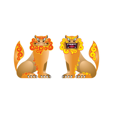 Paired figures of traditional Okinawa Shisas. Vector isolated.  イラスト・ベクター素材