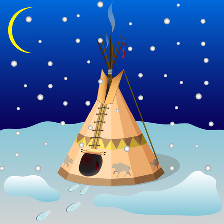 Wigwam is the home of the Indians of North America at night in the winter.
