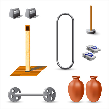 A set of items and adaptations for practicing traditional Okinawa karate. Illustration