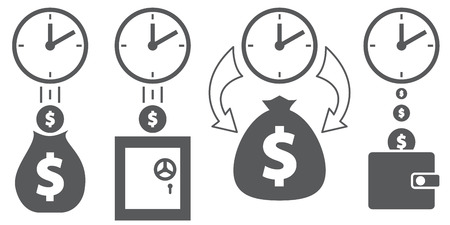 Icons show how the amount of money increases over time.