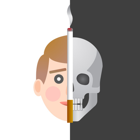 On the white half the face of a healthy person , on the dark half the skull, the cigarette divides the image into two halves.