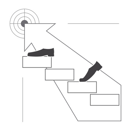 Business man s shoes go up the stairs to their goal