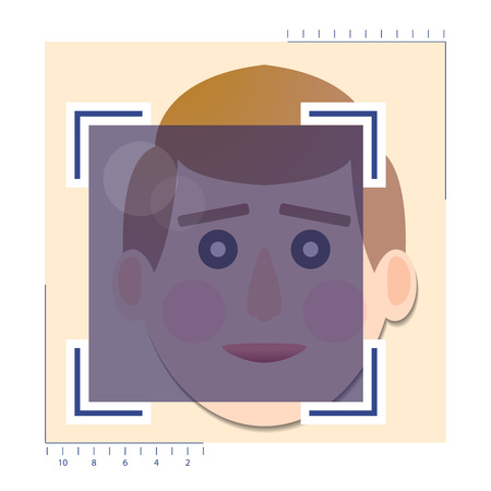 Face detection biometrical identification. Banque d'images - 105203047