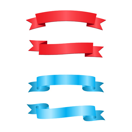 Blue and red ribbons isolated on white background