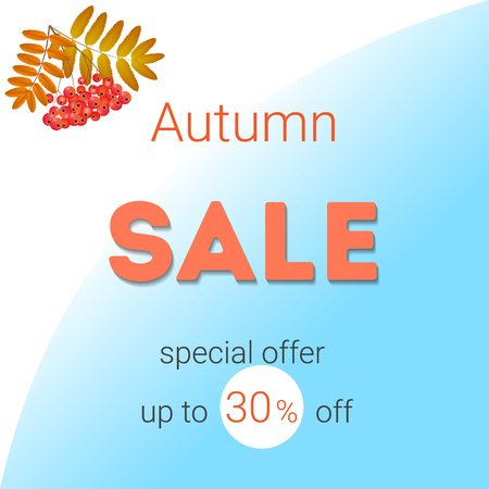 on a white blue background inscription autumn sale from the left top of a rowanberry branch