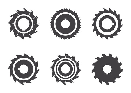 Milling cutter with different number of teeth. Set of vector icons