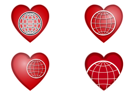 Set of four red hearts with a globe inside. Vector Icons