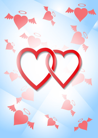 Two woven together male and female hearts against the backdrop of the flying hearts of angels. Two red hearts, love symbol, stock vector illustration