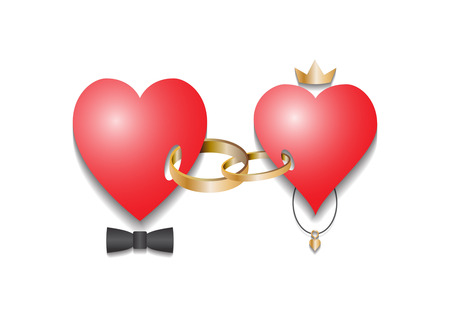 Two loving red hearts are joined by wedding rings. Isolated picture on a white background, vector illustration.  イラスト・ベクター素材