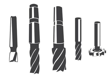 A set of various cylindrical milling cutter