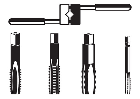 Tools for making carving. Tool for threading isolated on a white background Illustration