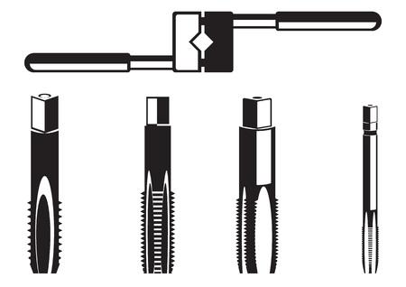 Werkzeuge zum Schnitzen. Werkzeug zum Einfädeln auf weißem Hintergrund