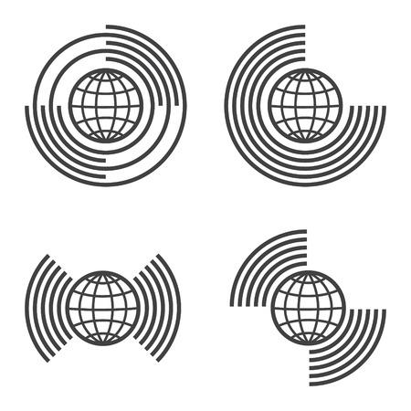 ensemble d'icônes de globe, connexion Internet, connexion à d'autres mondes et civilisations Vecteurs