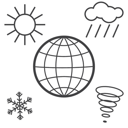 Different weather, climate and natural phenomena on planet Earth. Vector icons isolated on white.