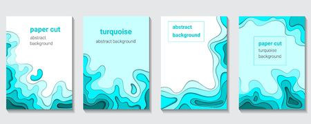 Vertical banners set with 3D abstract turquoise background and paper cut shapes. Figures and waves color of sea water. Design layout for business presentations, flyers, posters, decoration, cards, cov  イラスト・ベクター素材