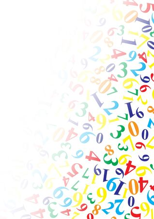 On a white isolated background in a different order are the numbers of different shapes and colors, at the top left - copy space