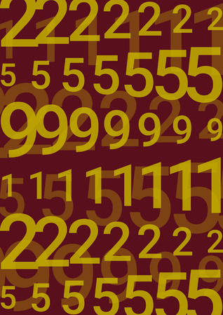 On a dark background are columns of various yellow numbers with different transparency.