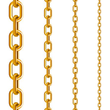 Catene d'oro di diverse dimensioni in posizione verticale su sfondo bianco isolato
