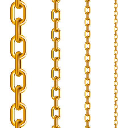 Golden chains in different sizes in a vertical position on a white isolated background
