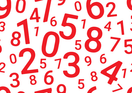 On a white background in random order are various red numbers.  イラスト・ベクター素材