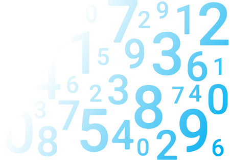 On a white background in random order are various blue numbers. Stock Vector - 124907602
