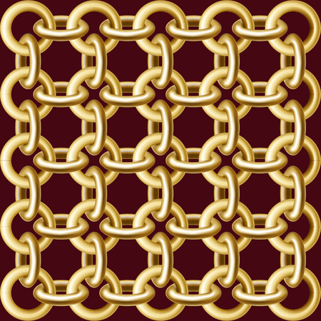 The pattern of round links of a gold chain on a dark background.